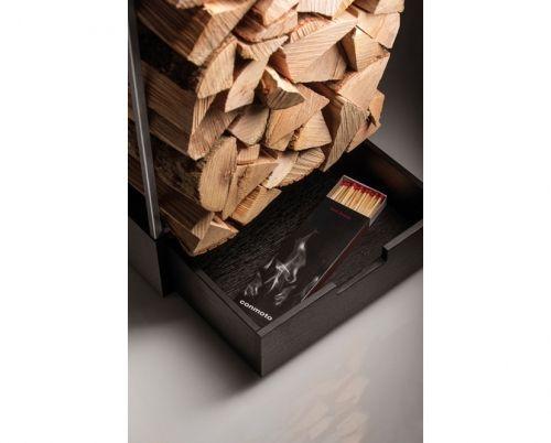 Nowoczesny regał na drewno; regał z szufladą