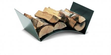 nowoczesna taca na drewno; miejsce na drewno przy kominku; stylowy stojak na drewno;